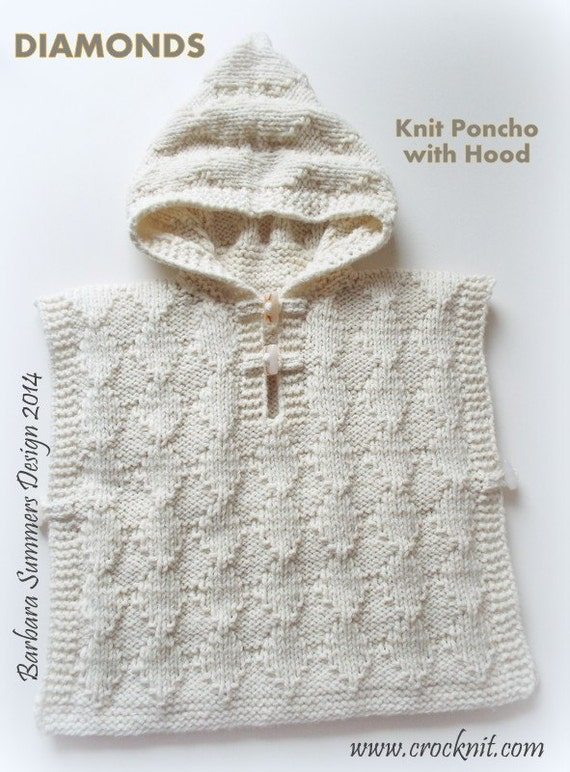 Aran Knitting Pattern With Hood : DIAMONDS Knit Poncho with Hood PATTERN Child 2 to 3 years Aran