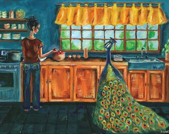 Nothing Was Ordinary- Acrylic Bird Painting - Girl with peacock- Illustrative whimsical archival print- by Rachel Devenish Ford