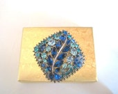 Vintage Blue Rhinestone and Silvertone Square Design Pin/Brooch