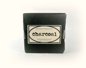 Activated Charcoal Soap, Cold Process Soap,Spa Soap,Tea Tree + Lemongrass + Lavender,Bar Soap,Phthalate Free, Palm Oil Free, Charcoal Soap