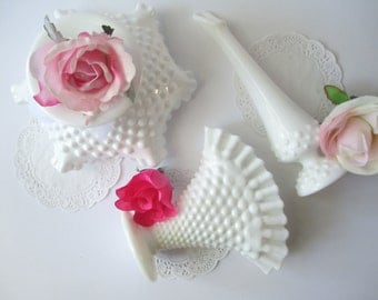 Vintage Fenton Milk Glass Hobnail Vase Bowl Collection of Three
