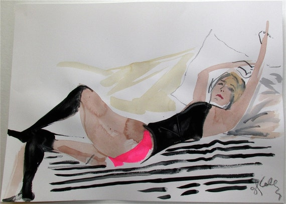 Nude painting,Boudoir Session 5.7, nude art, original, gesture sketchby Gretchen Kelly