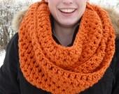 CLOSING SHOP SALE: Crocheted infinity scarf in Pumpkin