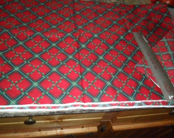 """Christmas print fabric by Cranston - 1 yard length x 44"""" width - Green berry leaves on red"""