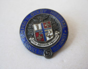 Bixby Hospital Brooch Pin Sterling Silver Enamel Vintage 925