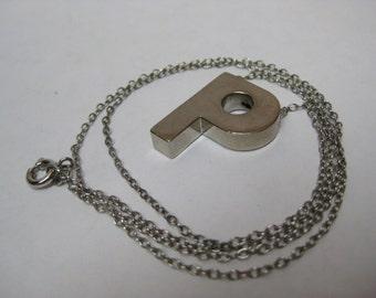 P Initial Silver Necklace Vintage Pendant