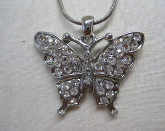Butterfly Rhinestone Necklace Silver Clear Vintage Pendant