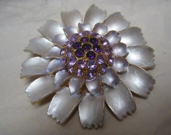 Flower Purple Rhinestone Brooch Gold Violet Lavender Vintage Pin