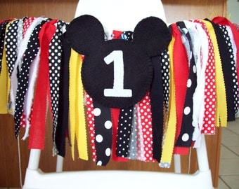 Birthday Banner ~Mickey Mouse Party ~Rag Tie banner ~ rag banner ~high chair banner ~cake smash ~photo prop ~nursery decor red black yellow