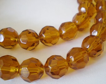 20pcs - 8mm Faceted Amber Honey Yellow round Glass beads