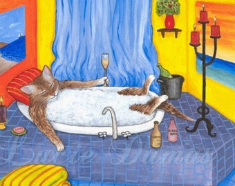 Art print 5x7 Cat 537 funny bathroom painting by Lucie Dumas