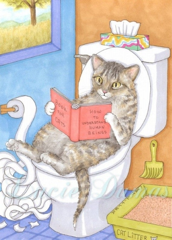 Art Print 5x7 Cat 535 Funny Bathroom Painting By Lucie Dumas
