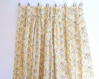 Vintage Green, Brown and Yellow Woodland Pansy Pleated and Lined Cafe Curtains, One Panel