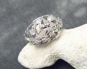 Vintage Sterling Rhinestone Ring Uncas Domed R5362