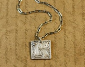 Precious Metal Clay, Fine Silver Letter Initial K Charm Pendant Necklace, long box cable chain, sterling silver, rustic, simple, bytwilight