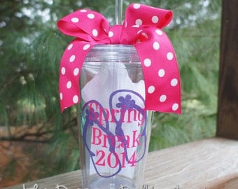 Spring Break Vacation Personalized Tumbler Cup - 16oz - Flip Flops