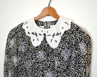 20 DOLLAR SUPER SALE! White and Black Floral Dress - Peter Pan Collar Dress- White Collar Dress