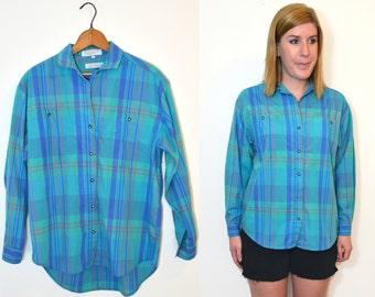 Plaid Shirt Women - Turquoise Blue Green Plaid Shirt - Turquoise Blouse