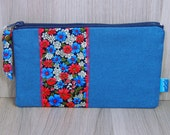 Purse - Wallet - Money Pouch - Coin Purse - Two Zip Pockets - Ladies - Card holder - Blue - Red - Green - Flowers