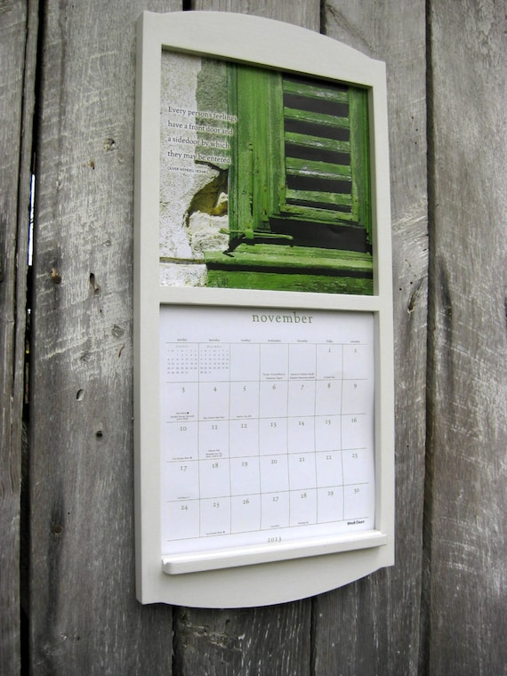 reserved 12 x 24 calendar holder wooden calendar frame in classic white medium size