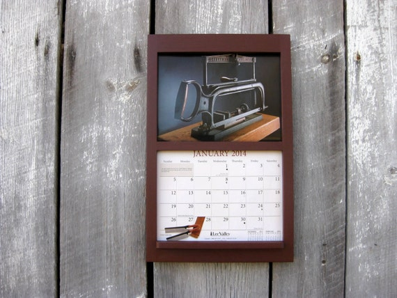 Calendar Wooden Frame : Handmade wood frame calendar holder in by
