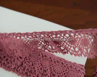 Pretty Mauve Lace - 3 yards Vintage Fabric Trim New Old Stock  Crochet  Doll Making Rose Ruffle