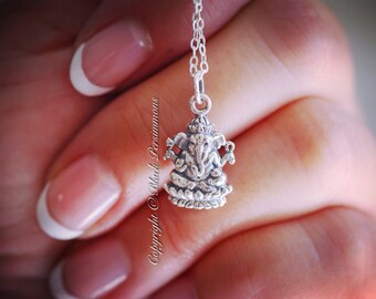 Ganesh Necklace - Solid 925 Sterling Silver Hindu God Ganesha Pendant Charm - Insurance Included