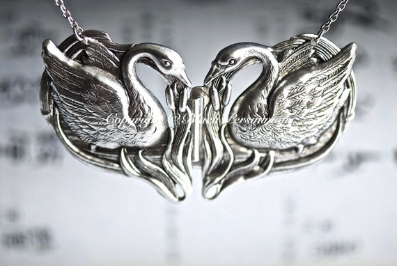 Double SWANS Necklace - Made in USA Stampings - Oxidized Sterling Silver