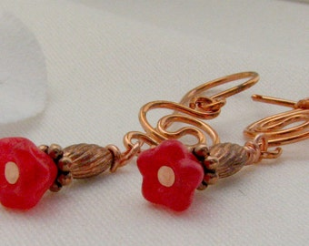 Red Glass Flower Copper  Drop Dangle Earrings Earrings Handcrafted by Pixes Treasure Chest