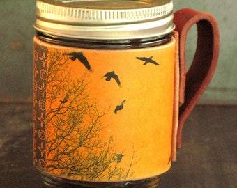 Leather Mason Jar Sleeve. Yellow birds. Re useable cup. Coffee cup. Takeout mug.