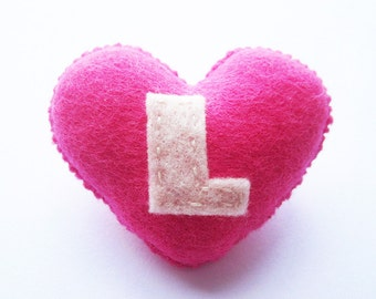SUPER CUTE PROMO : Handmade Felt Love Heart Brooch - Letter L - assorted colours