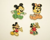 vintage set of 4 Disney Micky mouse and Minnie mouse magnets