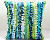 16 inch decorative pillow cover blue, green, white abstract stripe cushion cover