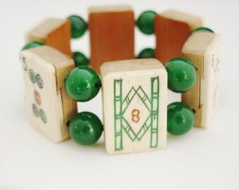 Mah Jong Bracelet of Vintage Bone and Bamboo Tiles with Jade / Mah Jong Bracelet / Vintage / 1930s / Jade / Dovetailed / Gift for Women