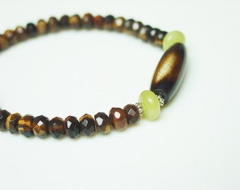 Tiger's Eye & Jade Bracelet with Quill Focal Bead / Fall Colors / Ethnic / Tribal / Bohemian / Stackable / Stretchy Bracelet / Simple