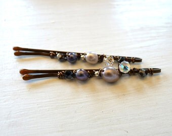 Freshwater Pearl and Swarovski Crystal Bobby Pins in Silver, Clear, and Black