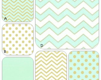 Mint, White and Gold Metallic Custom Crib Baby Bedding Set YOU DESIGN - Glitz in Mint