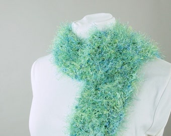 Hand Crocheted Fuzzy Green and Blue Scarf for Adult or Kid, Female