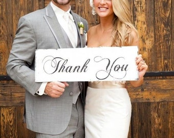 WEDDING Signs - THANK YOU - Wedding sign 18x7 - Thank you! note -  photo props