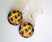 Sunflower Jewelry Dangle Earrings Kaleidoscope Round Art Glass