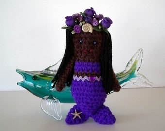 Mermaid Amigurumi Toy Crochet Doll Purple Body Dark Brown Skin Black Hair Seashells Flowers