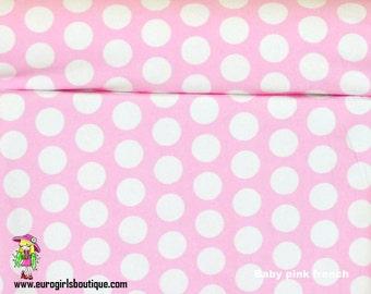 Baby pink dots 1 yard knit cotton lycra