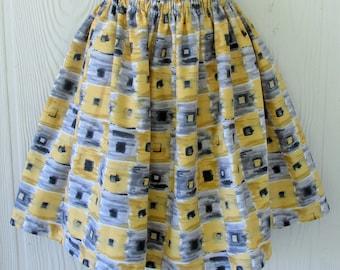 """Yellowand Gray, Retro Full Skirt, Elastic Waist, Adjusts to Waists 28 - 36"""", Eclectasie"""