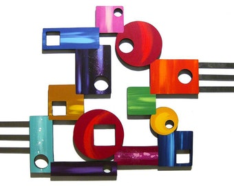 Peace Out #5 Abstract Geometric Bold Colorful and Unique Wood Metal Wall Sculpture 38x24