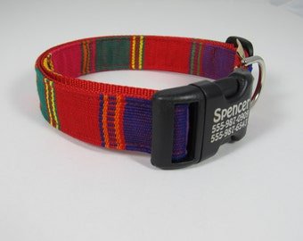 Vibrant Tunic Flame Red Guatemalan style dog collar-- personalized with laser engraving technology