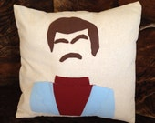 Pop Culture Minimalist Likeness of Anchorman Ron Burgundy Felt Applique Pillow Cover 16 x 16 inches style 2