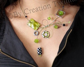 lime green and black necklace,unique modern design, bridal jewelry,funky necklace,bridesmaids gift ,mothers days gifts, wedding jewelry