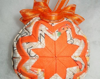 Longaberger Halloween Jack-o-Lantern  CANDY CORN  Quilted Ball Ornament with Ribbon Hanger