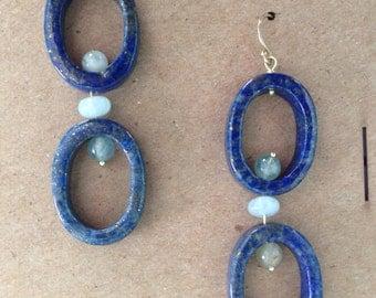 Lapis lazuli and aquamarine on 18k green gold earrings