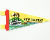 vintage 60s New Orleans Louisiana felt souvenir pennant / travel pennant / banner